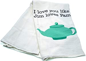 "The Office Merchandise – Pam and Jim Teapot Tea Towel – CoolTVProps – The Office TV Show Kitchen Cloth – 28"" x 29"""