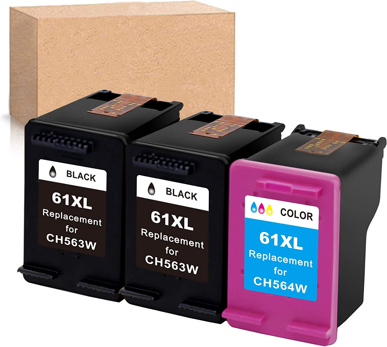 InkSpirit Remanufactured Ink Cartridge 61 Replacement for HP 61XL 61 XL Black Tri-Color Used in Envy 4500 4502 5530 OfficeJet 4630 DeskJet 2512 1512 2542 2540 2544 3000 3052a 1055 3051a 2548 (3-Pack)
