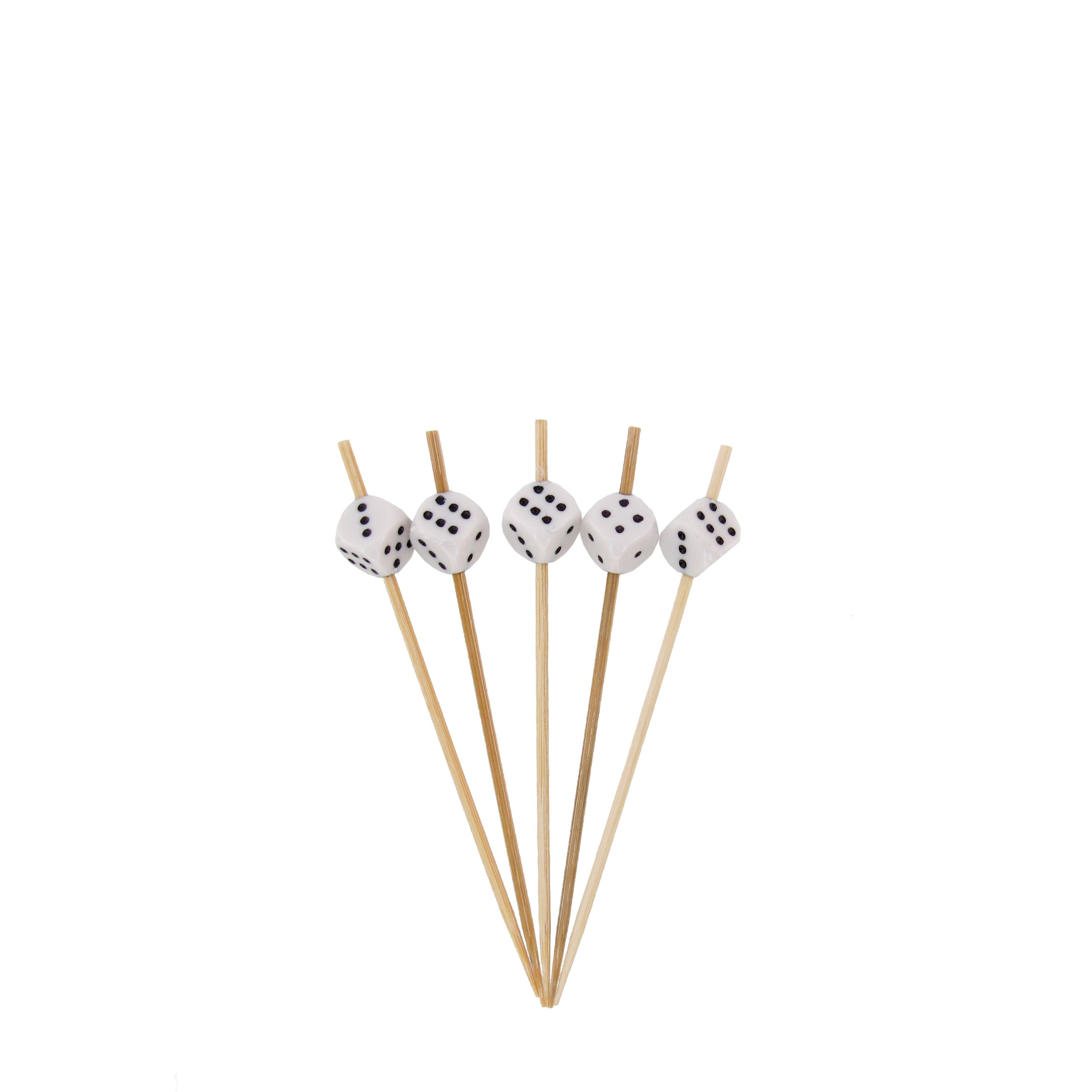 BambooMN 3.9'' Decorative Dice Party End Bamboo Cocktail Fruit Sandwich Picks Skewers for Catered Events, Holiday's, Restaurants or Buffets Party Supplies, White, 100 Pieces