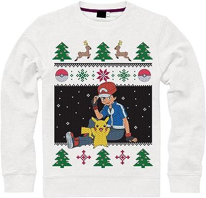 Amazon.com: Pokemon Navidad Jumper sudadera Ceniza Pikachu ...