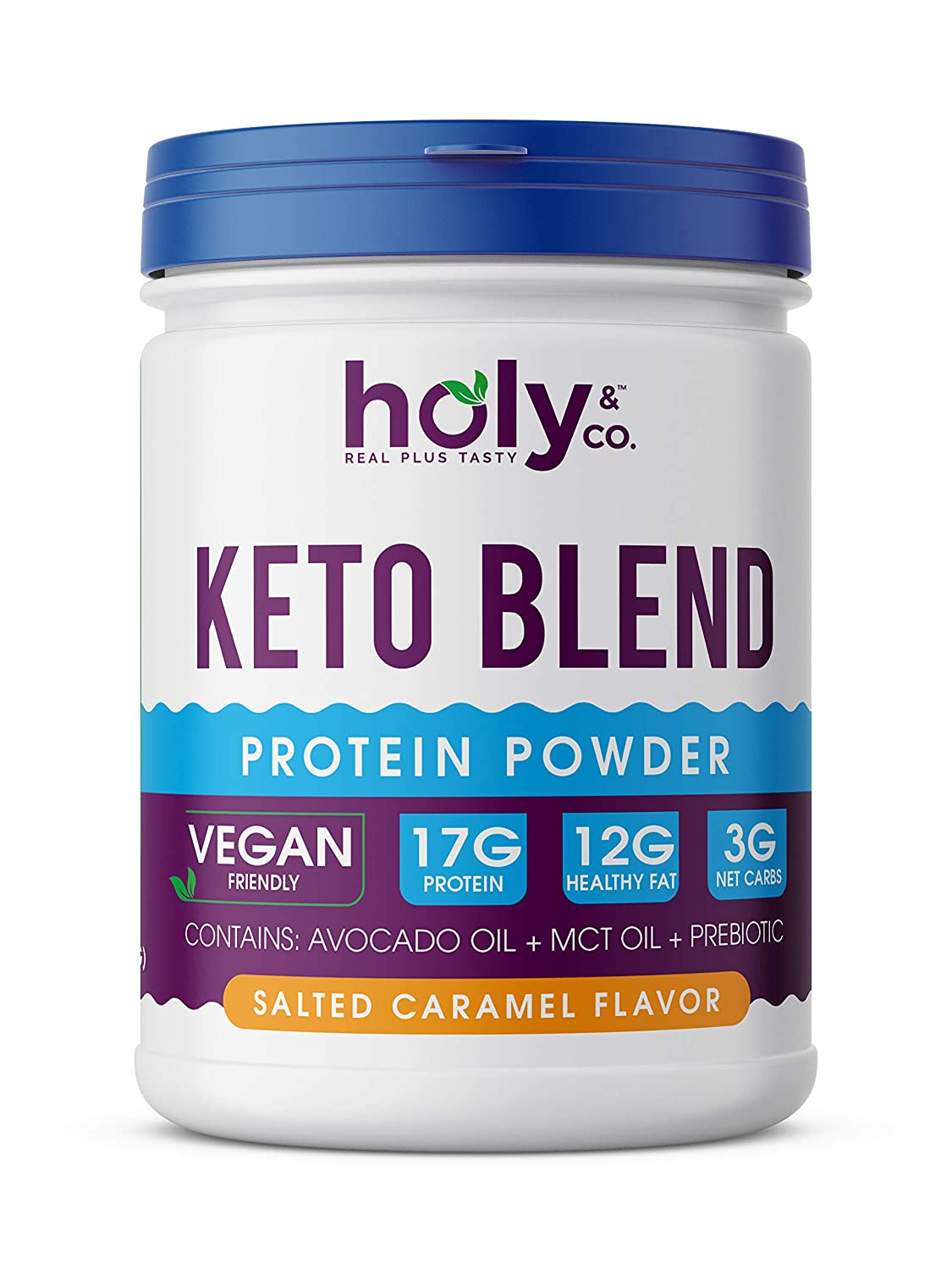 Holy and Co. Keto Protein Shake Plant Based , Salted Caramel 16 oz 1lb 453g Powder. Healthy Fat Blend Featuring Avocado Oil and Coconut MCT Oil – Gluten Free, Non-Dairy, Non Soy, Non GMO