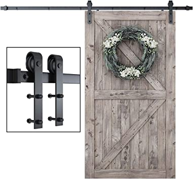 Amazon Com Smartstandard 8 Foot One Piece Track Sliding Barn Door Hardware Kit Smoothly And Quietly Easy To Install Includes Step By Step Installation Instruction Fit 42 48 Door Panel J Shape Home