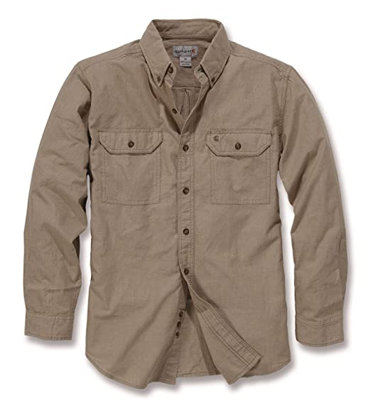 7d52754a04 Carhartt L/S Fort Solid Shirt Dark Tan Chambray S: Amazon.co.uk ...