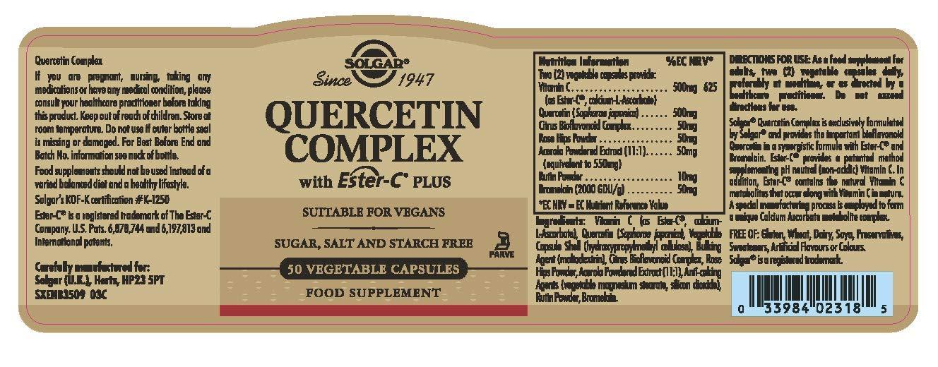 Solgar Quercitina Complex con Ester-C Plus Cápsulas vegetales - Envase de 50: Amazon.es: Salud y cuidado personal