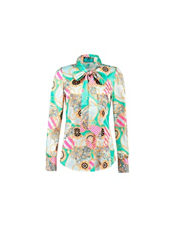 1c95738b1abc2 HAWES   CURTIS Womens Turquoise   Fuchsia Nautical Print Fitted Satin Blouse  - Elegant Pussy Bow
