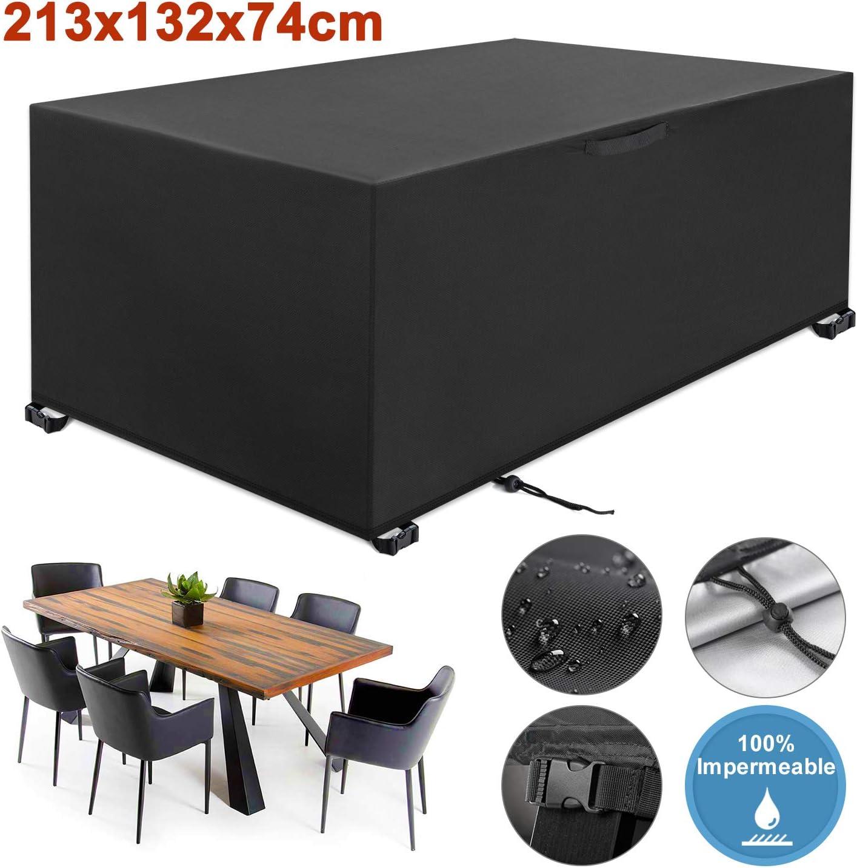 YISSVIC Cubierta de Muebles de Jardín Fundas de Muebles Impermeable Resistente al Polvo Anti-UV Protección Exterior Muebles de Jardín Cubiertas de Mesa y Silla Negro 213x132x74cm