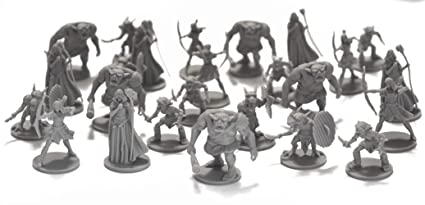 25 Fantasy Miniatures for Tabletop/Dungeons and Dragons Roleplaying Games -  Bulk Minis Unpainted- Enemies and Monster Figures Starter Set - Compatible