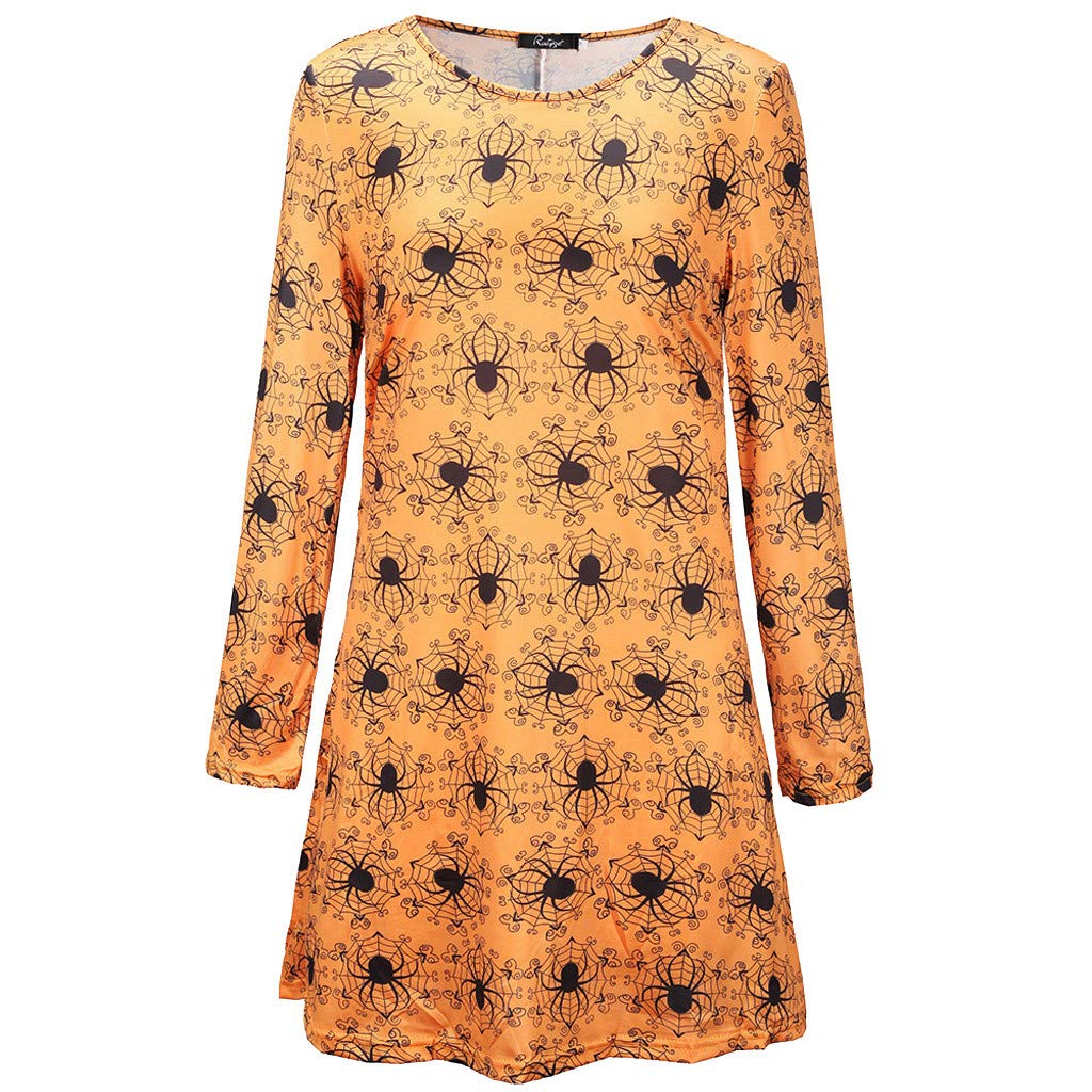 BHYDRY Frauen Kleid Cosplay Halloween Kleidung Kleidungsst/ück Acting Festival K/ürbis R/öcke