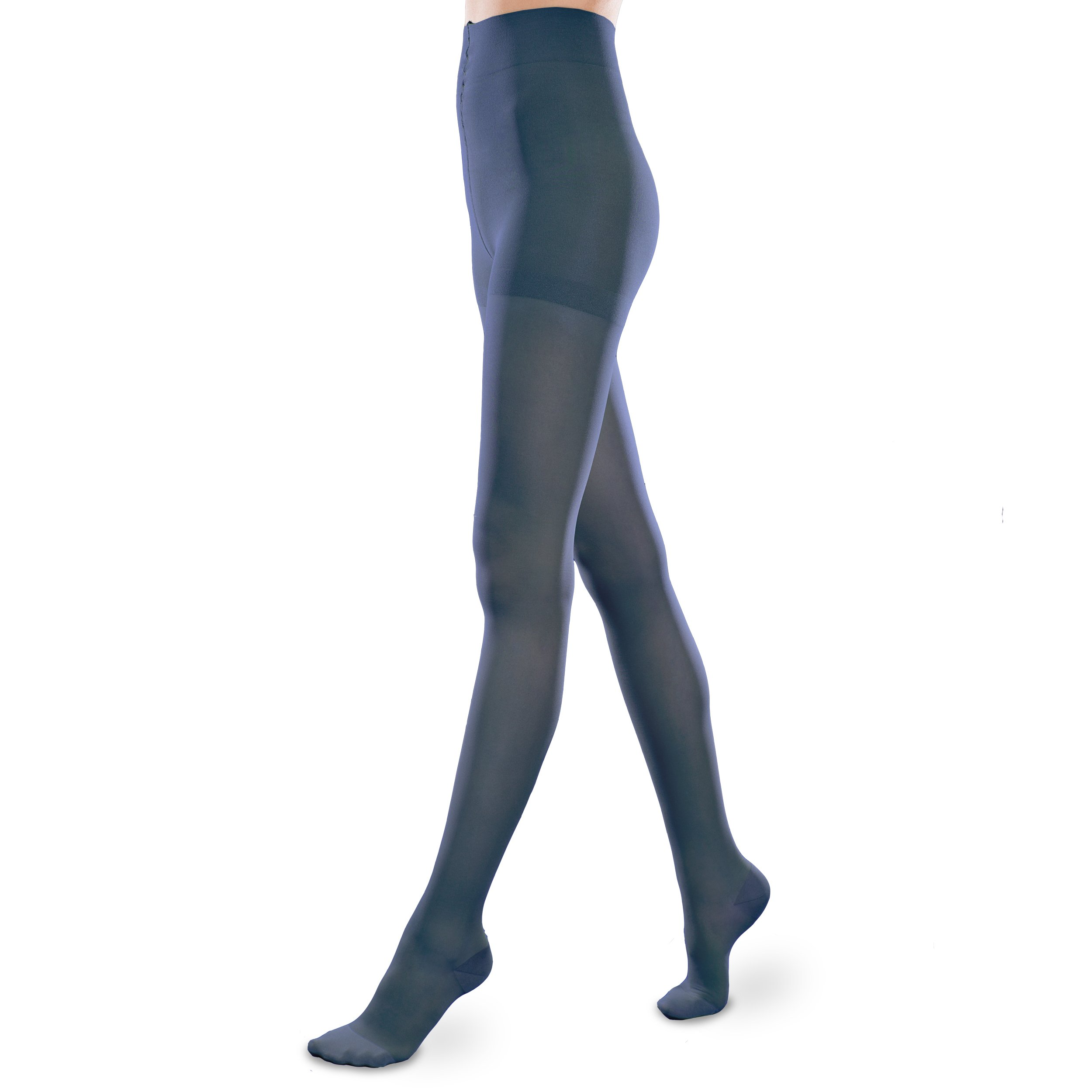 Sheer Ease Women's Support Pantyhose - 20-30mmHg Moderate Compression Stockings (Navy, Small Long)