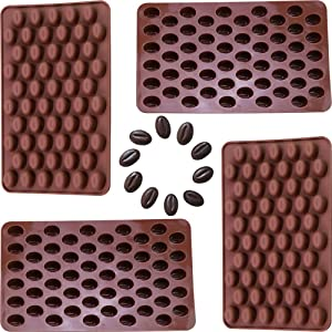 Onwon 4 x 55 Mini Coffee Beans Chocolate Mold Candy Ice Cube Jelly DIY Cake Decoration Food-Grade Silicone Bakeware Mould Baking Molds