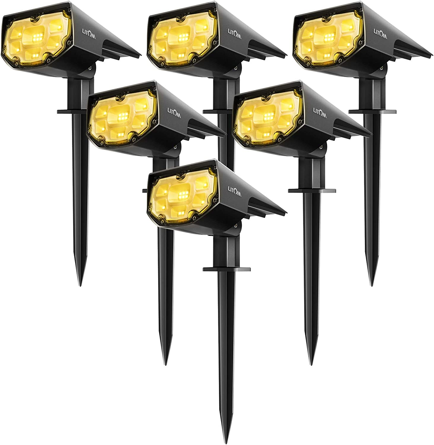 LITOM 12 LEDs Solar Landscape Spotlights, IP67 Waterproof Solar Powered Wall Lights 2-in-1 Wireless Outdoor Solar Landscaping Light for Yard Garden Driveway Porch Walkway Pool Patio 6 Pack Warm White