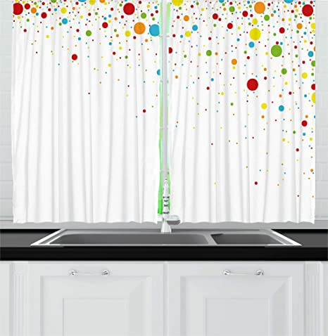 Ambesonne Colorful Kitchen Curtains Small Dots Like Party Celebration Print On White Backdrop Retro Style Art Window Drapes 2 Panel Set For Kitchen Cafe Decor 55 X 39 White Red Home