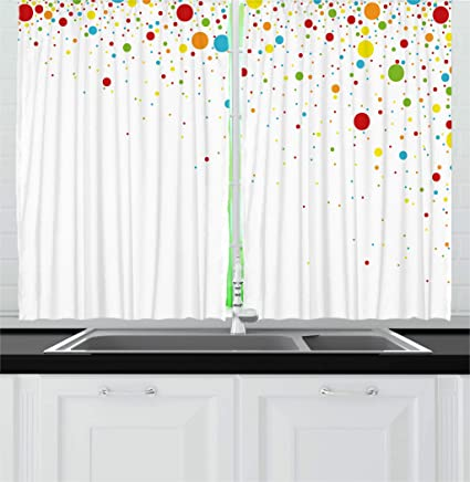 Ambesonne Colorful Kitchen Curtains, Small Dots Like Party Celebration  Print on White Backdrop Retro Style Art, Window Drapes 2 Panel Set for  Kitchen ...