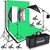 Neewer 8.5x10ft/2.6x3M 2400W 5500K Background Support System with Three 6x 9ft/1.8x2.8M Backdrop Lighting Kit for Photography Video Studio Shooting