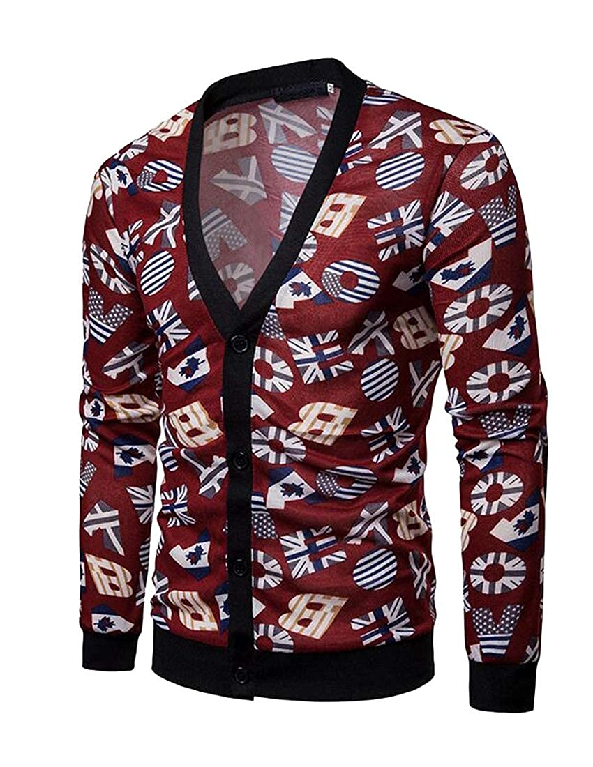 YYear Men Letters Printed Long Sleeve Casual V-Neck Button Down Cardigan Sweater