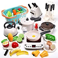 CUTE STONE 40PCS Kitchen Play Toy with Cookware Playset Spray Pressure Pot and Electronic Induction Cooktop,Cooking…