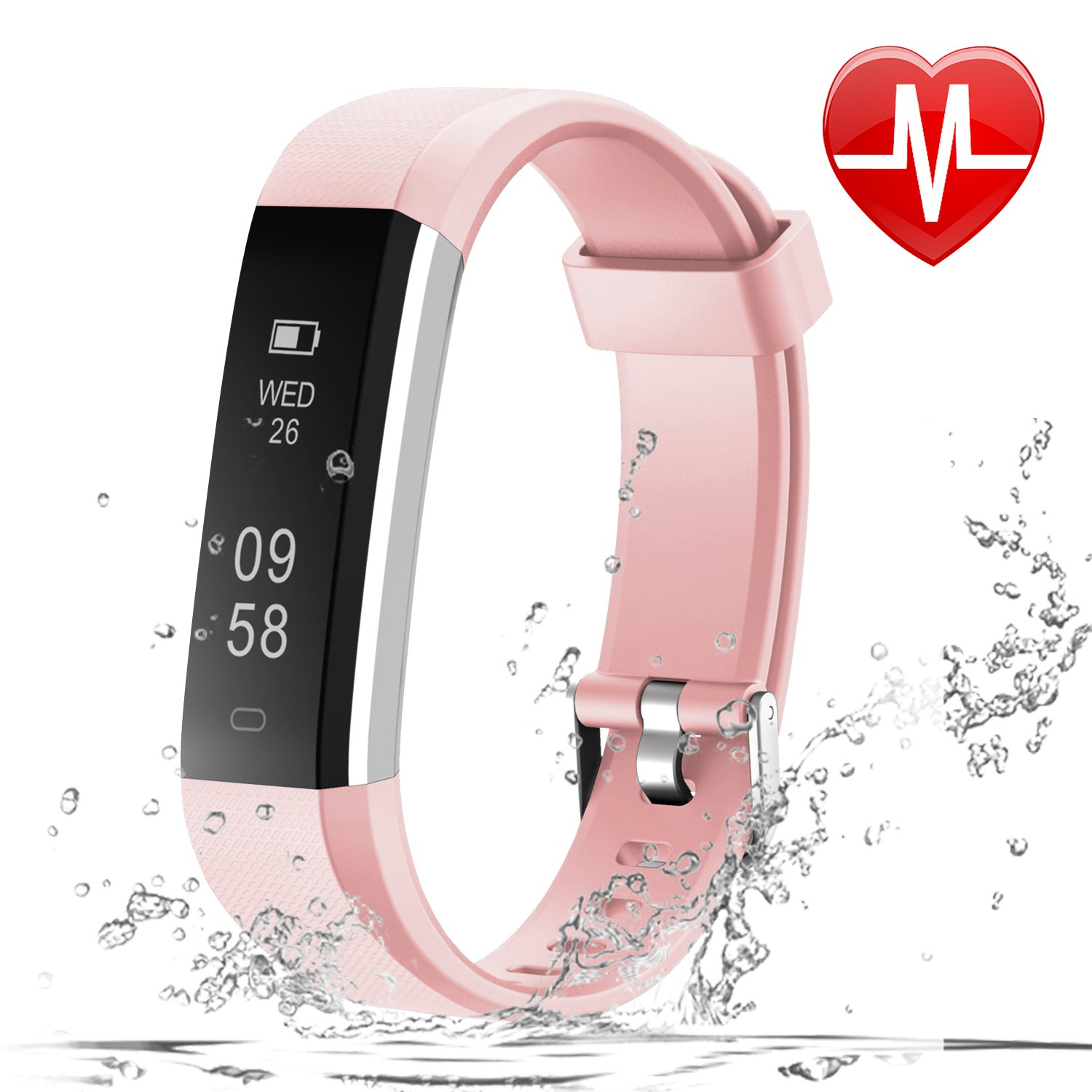 LETSCOM Fitness Tracker HR Fitness Watch with Heart Rate Monitor Slim Bluetooth Pedometer Watch Sleep Monitor Step Counter Calorie Counter for Kids Women and Men