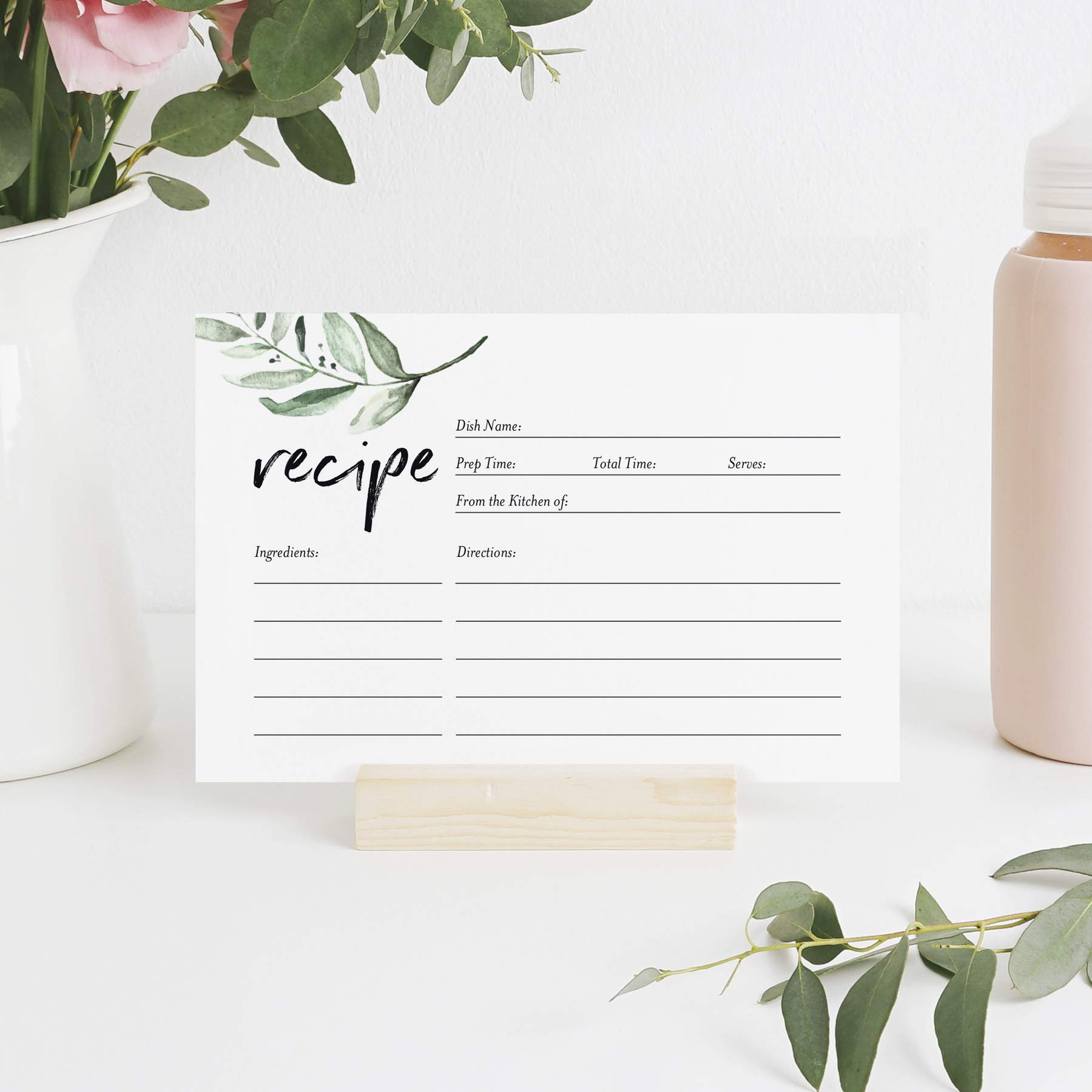 Rustic Recipe Cards 4x6 Double Sided — Greenery design for Bridal Shower, Wedding Shower, Housewarming Gift! (Pack of 50)