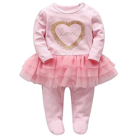Recién Nacido Niñas Tutú Peleles A Rayas Mameluco Footies Pijama Bebé Tuta Outfits Princesa Trajes,