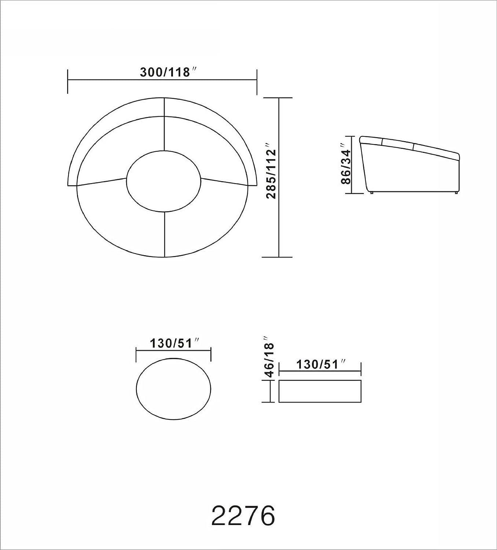 Amazon Vig Furniture Modern Black Leather Circular Sectional