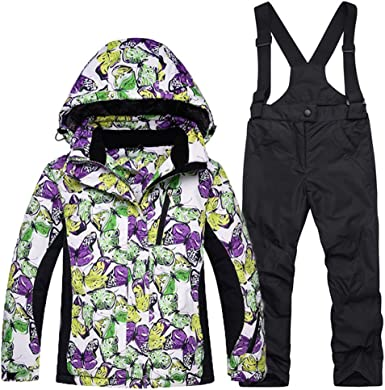 Girls 2 Piece Snowboarding Windproof Waterproof Jacket and Pants Set Snow Suit