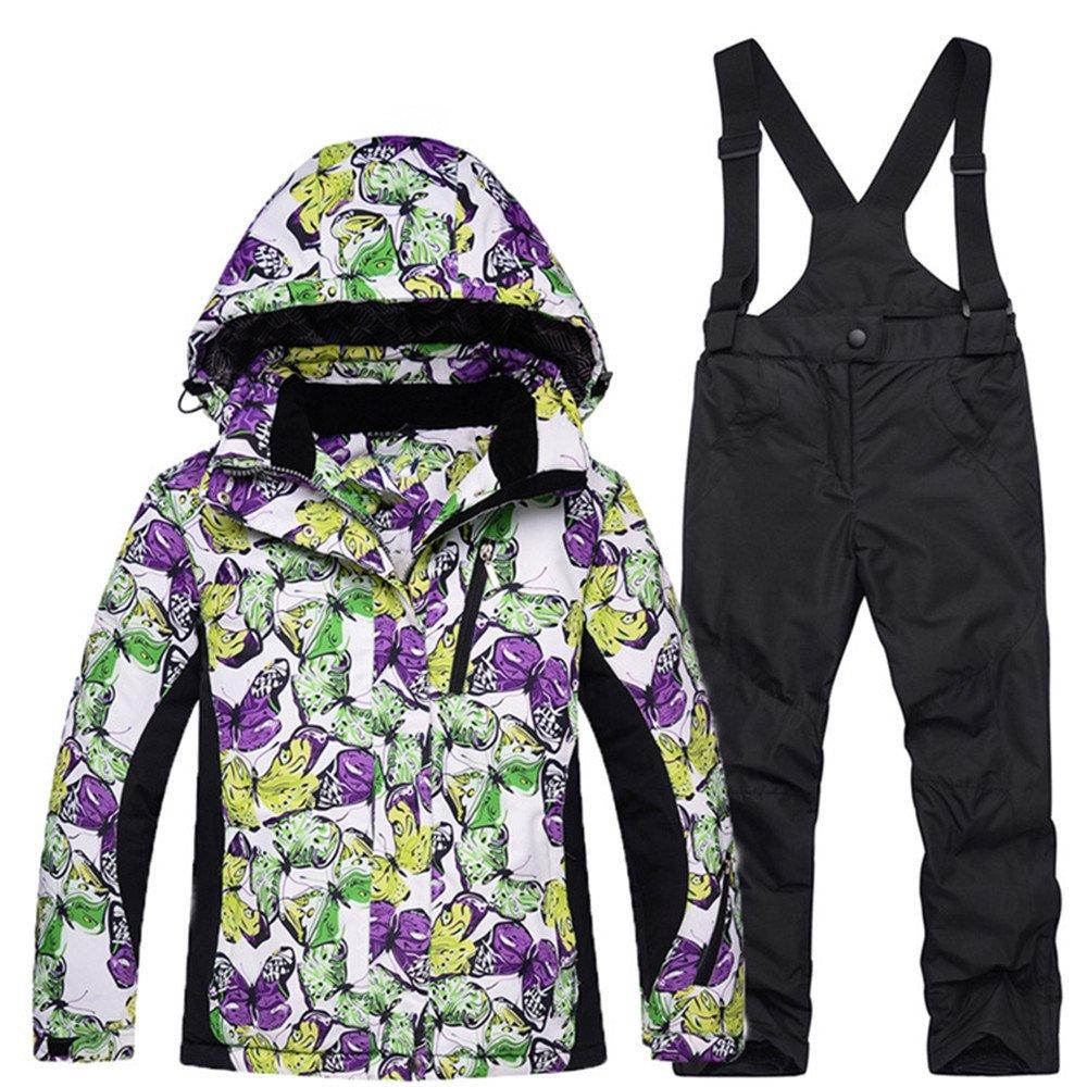 Girls' Snowboarding Windproof Waterproof Jacket and Pants Set Snow Suit 10) Smilovely