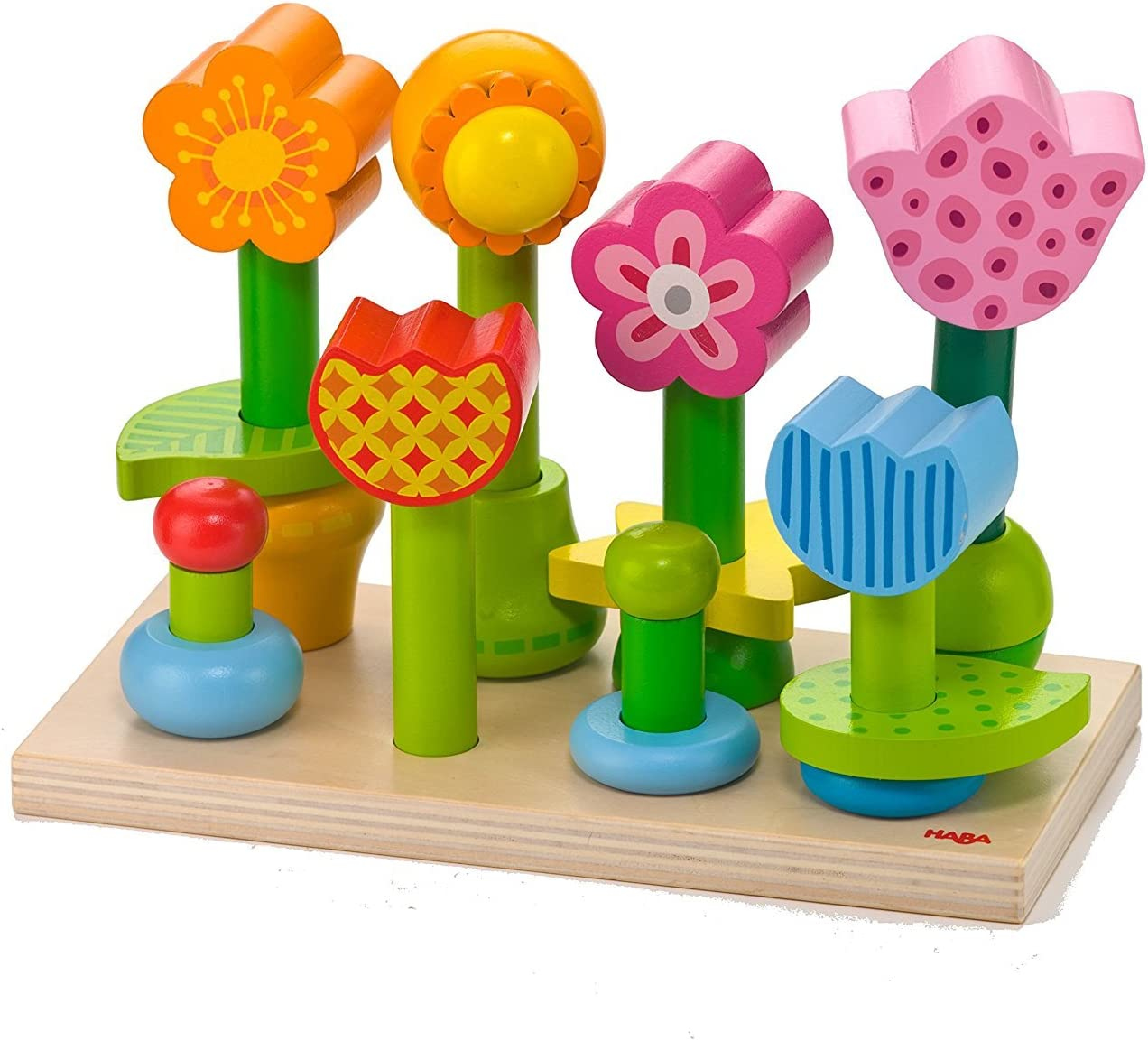 HABA Bonita Garden - 25 Piece Wooden Mix & Match Stacking Peg Toy