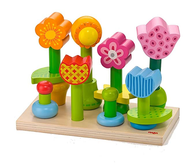 HABA Bonita Garden - 25 Piece Wooden Mix & Match Stacking Peg Toy