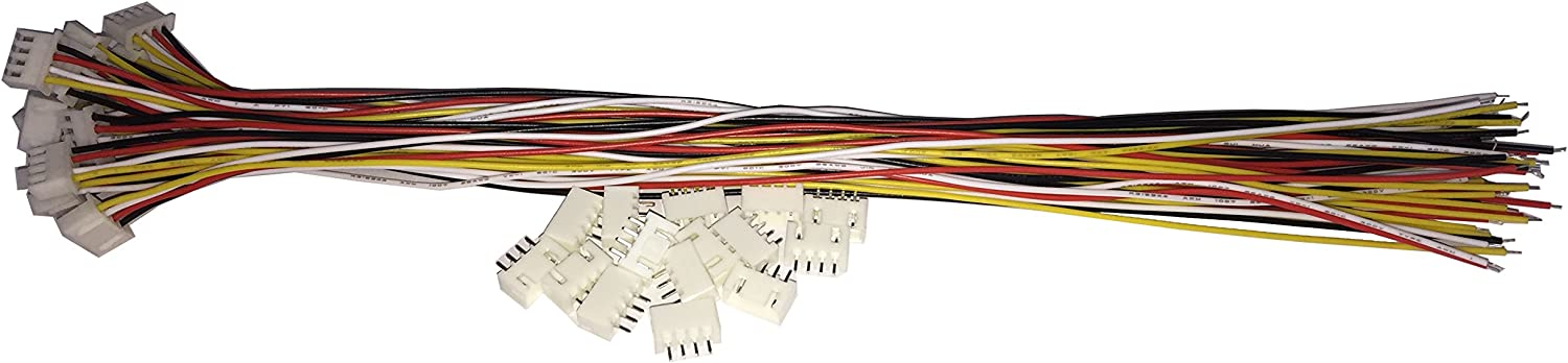 15 SETS JST XH 2.54MM 4 Pin Female Single Connector with Flat Wires 200MM 1007 26AWG Tongxiang