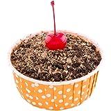 Panificio Premium 5-oz Baking Cups: Large-Pleated Ridge Cups Perfect for Muffins, Cupcakes or Mini Snacks - Hot Orange Polka