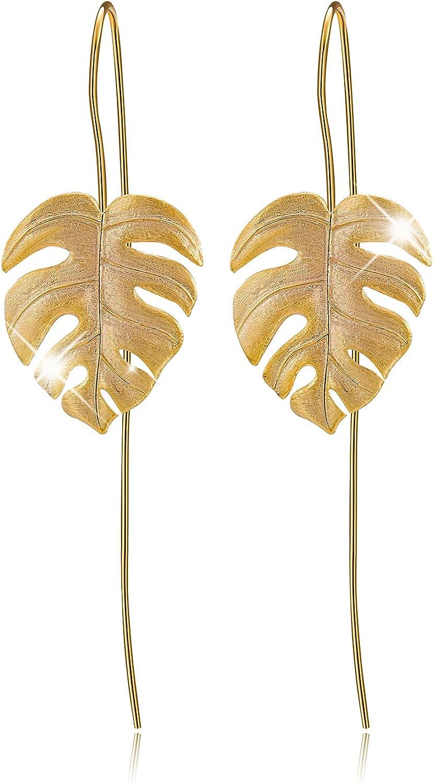 Lotus Fun S925 Pendientes de gota de plata de ley con dise?o de hojas de monstruo, pendientes colgantes para mujeres y ni?as, joyas ¨²nicas hechas a mano