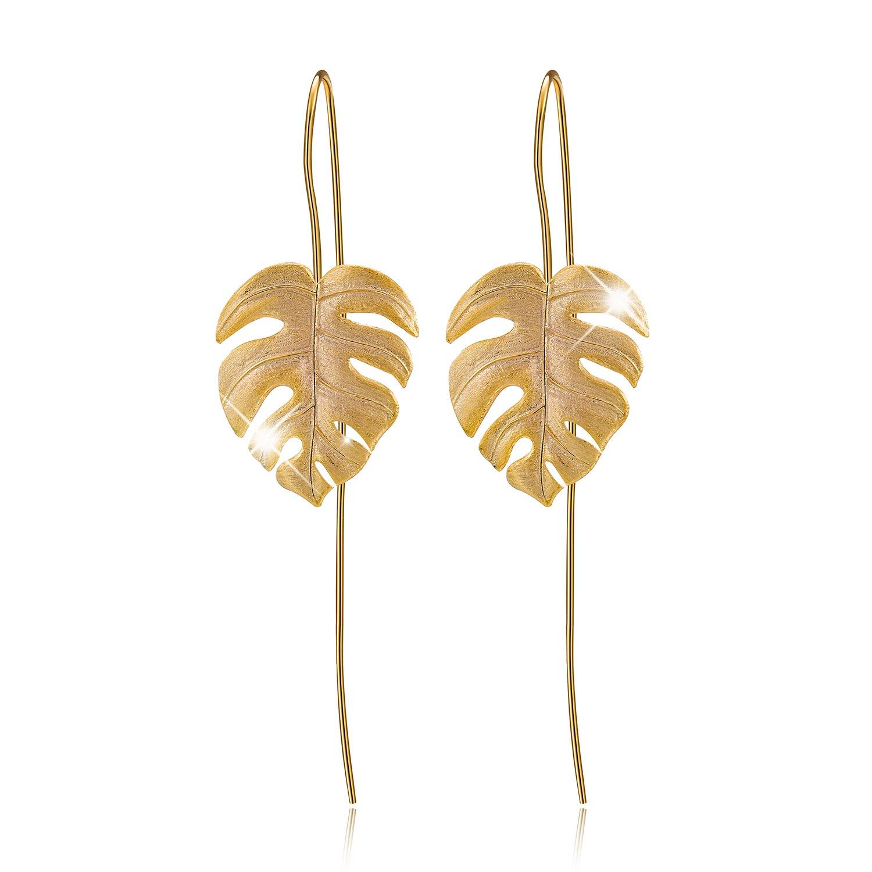 Lotus Fun S925 Sterling Silver Drop Earrings Monstera Leaves Dangle Earring for Women and Girls, Handmade Unique Jewelry LFJB