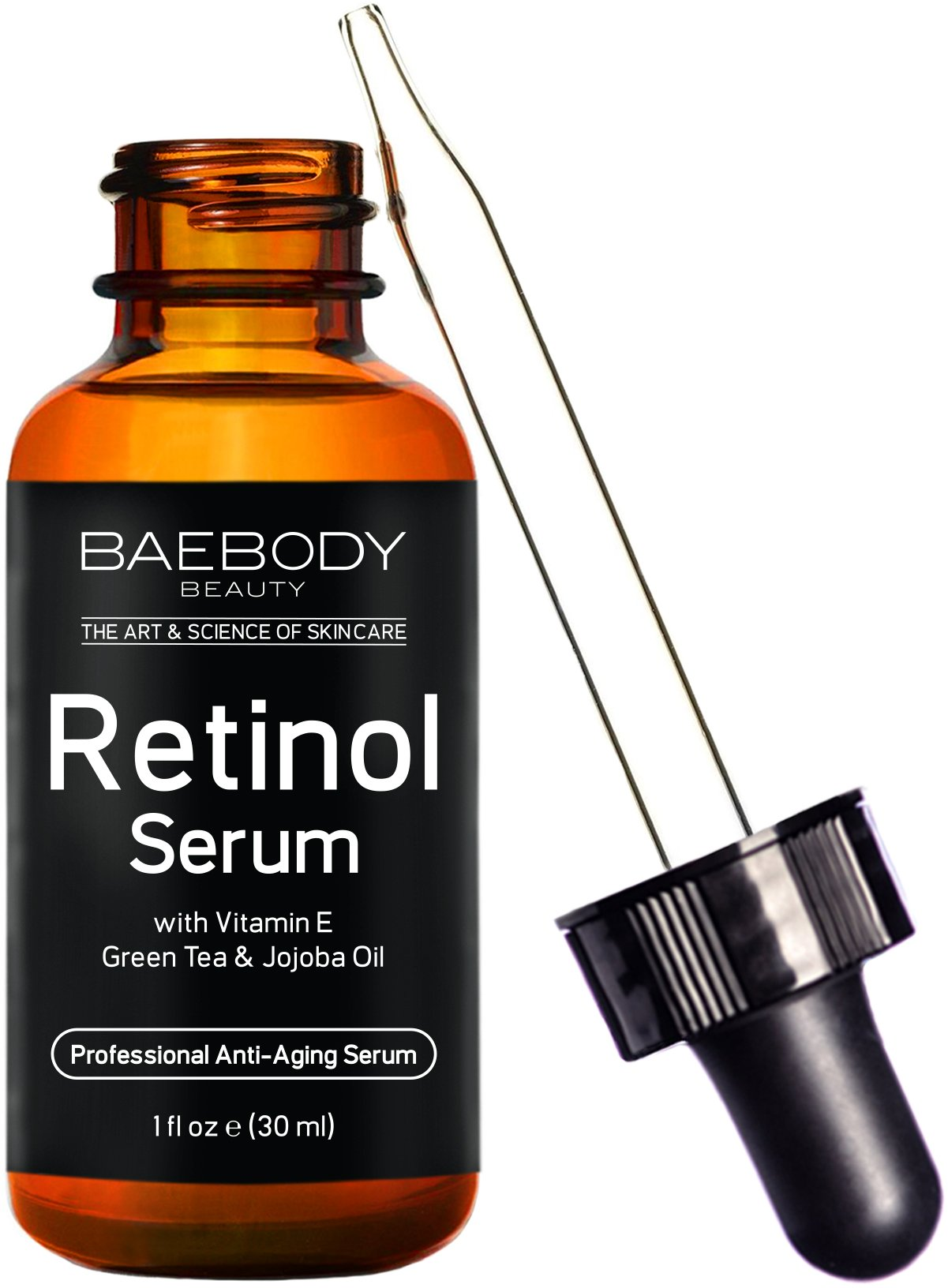 Baebody Retinol Serum for Face, Professional Anti-Aging Topical Facial Serum, Anti-Wrinkle & Reduce Fine Lines, Clinical Strength Organic Ingredients w Vitamin E, Hyaluronic Acid, Jojoba Oil 1oz