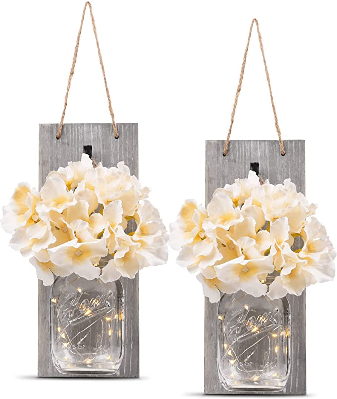 HOMKO Decorative Mason Jar Wall Decor - Rustic Wall Sconces with 6-Hour Timer LED Fairy Lights and Flowers - Farmhouse Home Decor (Set of 2) best spring home decor