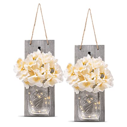 Amazon.com: HOMKO Decorative Mason Jar Wall Decor   Rustic Wall Sconces  With 6 Hour Timer LED Fairy Lights And Flowers   Farmhouse Home Decor (Set  Of 2): ...