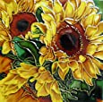 Continental Art Center BD-2042 8 by 8-Inch Yellow Sunflower with Green Leaves Ceramic Art Tile