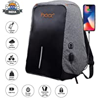Hoox 16-inch Synthetic Anti Theft Business Bag with USB Charging Port and Music AUX Extension (Grey)