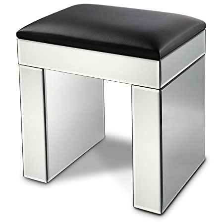 Miusco Mirrored Stool With Cushion, Mirrored Dressing Table Chair With  Black Faux Leather
