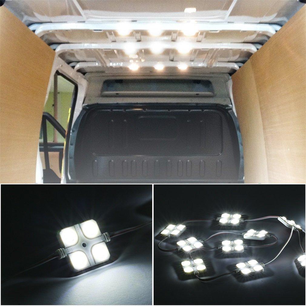 OUTAD Van Interior Light Kits,12V 40 LEDs Car Reading Lights LED Ceiling Lights Kit for Van Boats Caravans Trailers Lorries (10 Modules, White)