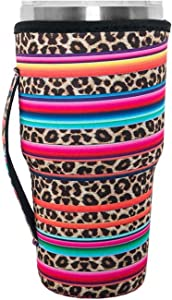 Reusable Iced Coffee Cup Sleeve Neoprene Insulated Sleeves Cup Cover Holder Idea for 30oz-32oz Tumbler Cup,Trenta Starbucks,Large Dunkin Donuts (Only Cup Sleeves)(Rainbow-Leopard)