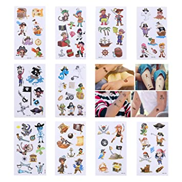 6 PIRATE TEMPORARY TATTOOS Assorted Design Party Bag Filler Loot Girls Boys