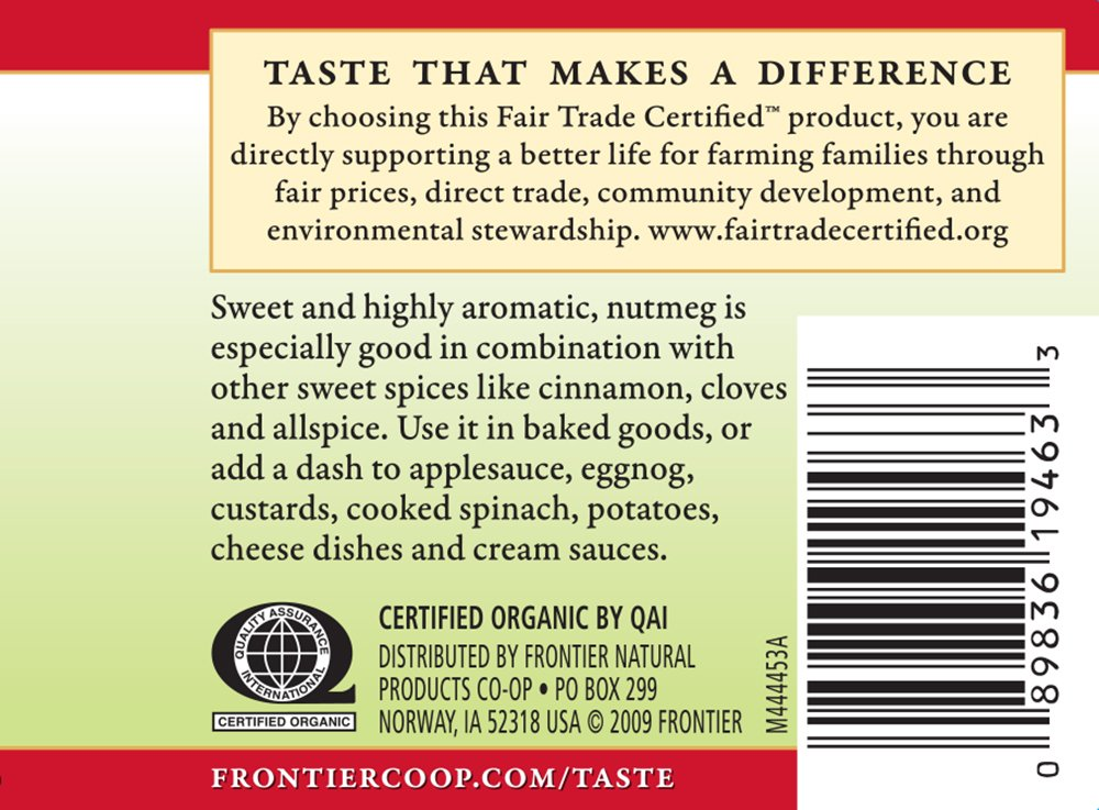 Frontier Natural Products Nutmeg, Og, Ground, Ft, 1.90-Ounce