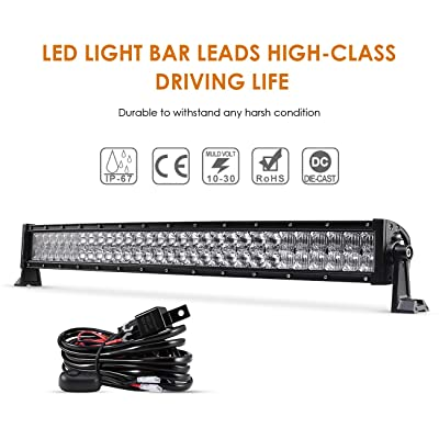 "Auxbeam 32"" 180W Curved LED Light Bar 5D Lens 18000LM Spot Flood Combo Beam Driving Light with Wiring Harness: Automotive"