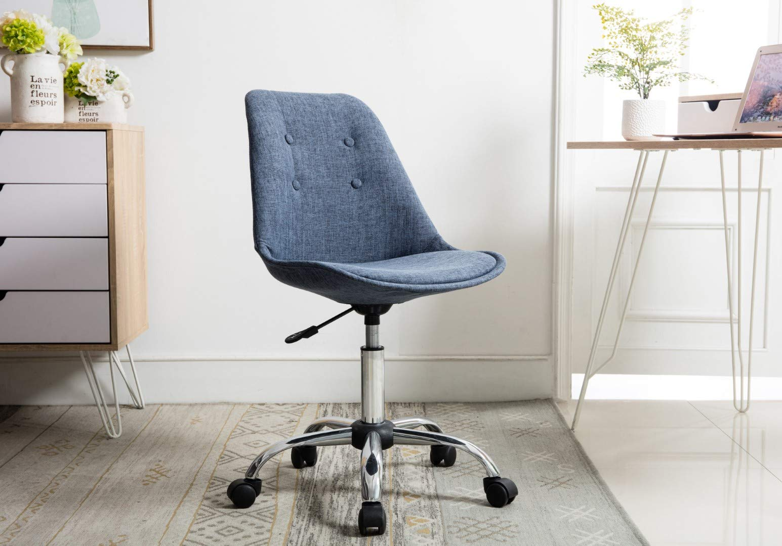 Porthos Home TFC051A BLU Office Chair, Designer Office Chairs with Wheels, Premium Quality Comfort 360 Degree Swivel Height Adjustable, One Size, Blue by Porthos Home