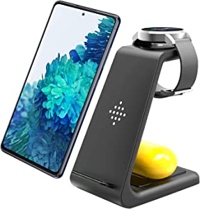 Wireless Charger 3 in 1 Wireless Charging Station for Samsung Galaxy Watch 3,Active2/1,Gear S3/S2/Sport/Fit,Galaxy Buds+/Live,Fast Charging Stand for Samsung S20/S10/S10e/Note 20 Ultra 10/9/8/Z Flip