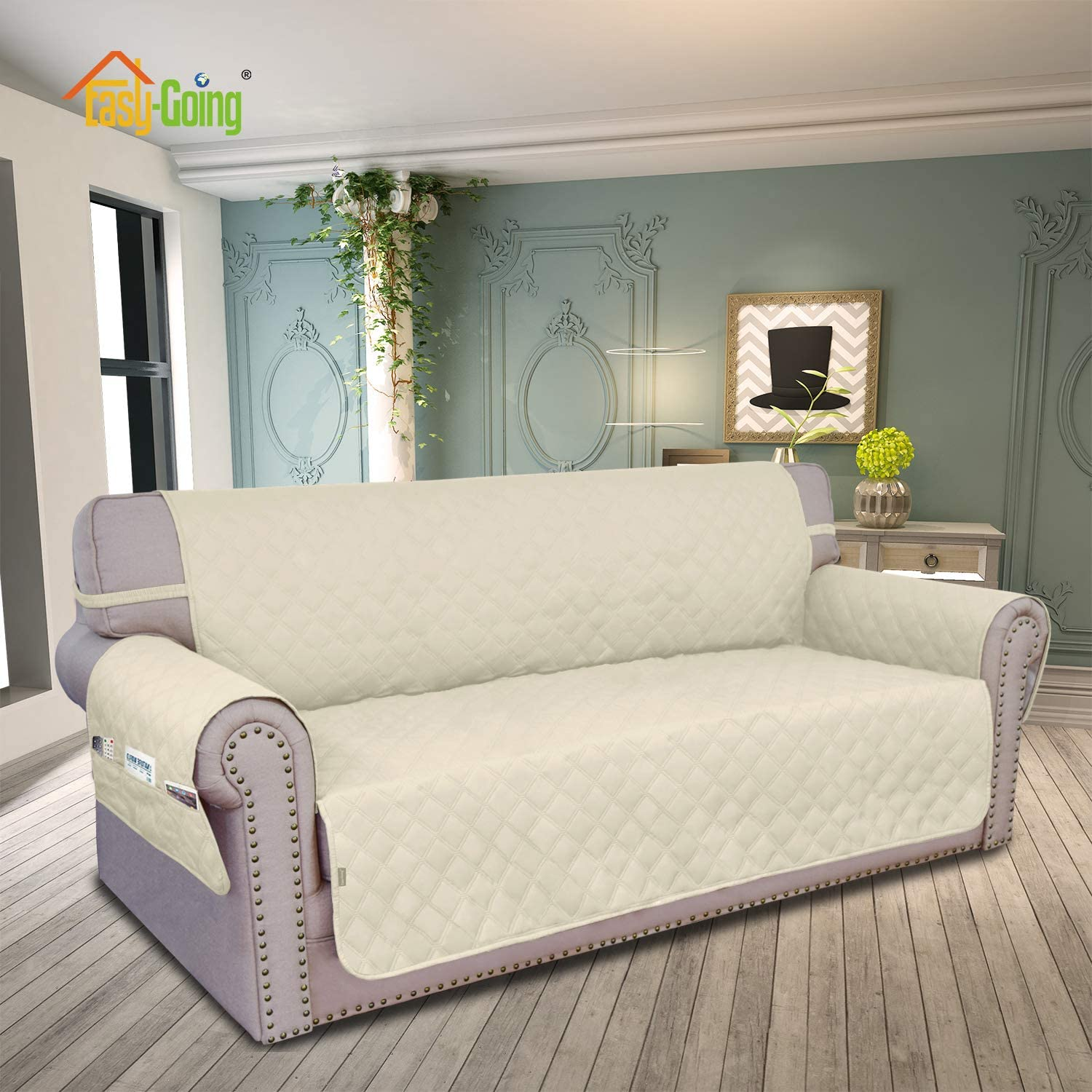 Easy-Going Sofa Slipcover Sofa Cover Waterproof Couch Cover Furniture Protector Cover Pets Covers Whole Fabric No Stitching Non-Slip Fabric Pets Kids Children Dog Cat (Large, Ivory): Kitchen & Dining