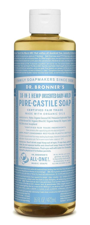 Dr. Bronner's Un-Scented Baby Mild Pure-Castile Liquid Soap, 16-Ounce Bottle Dr. Bronner' s 173229