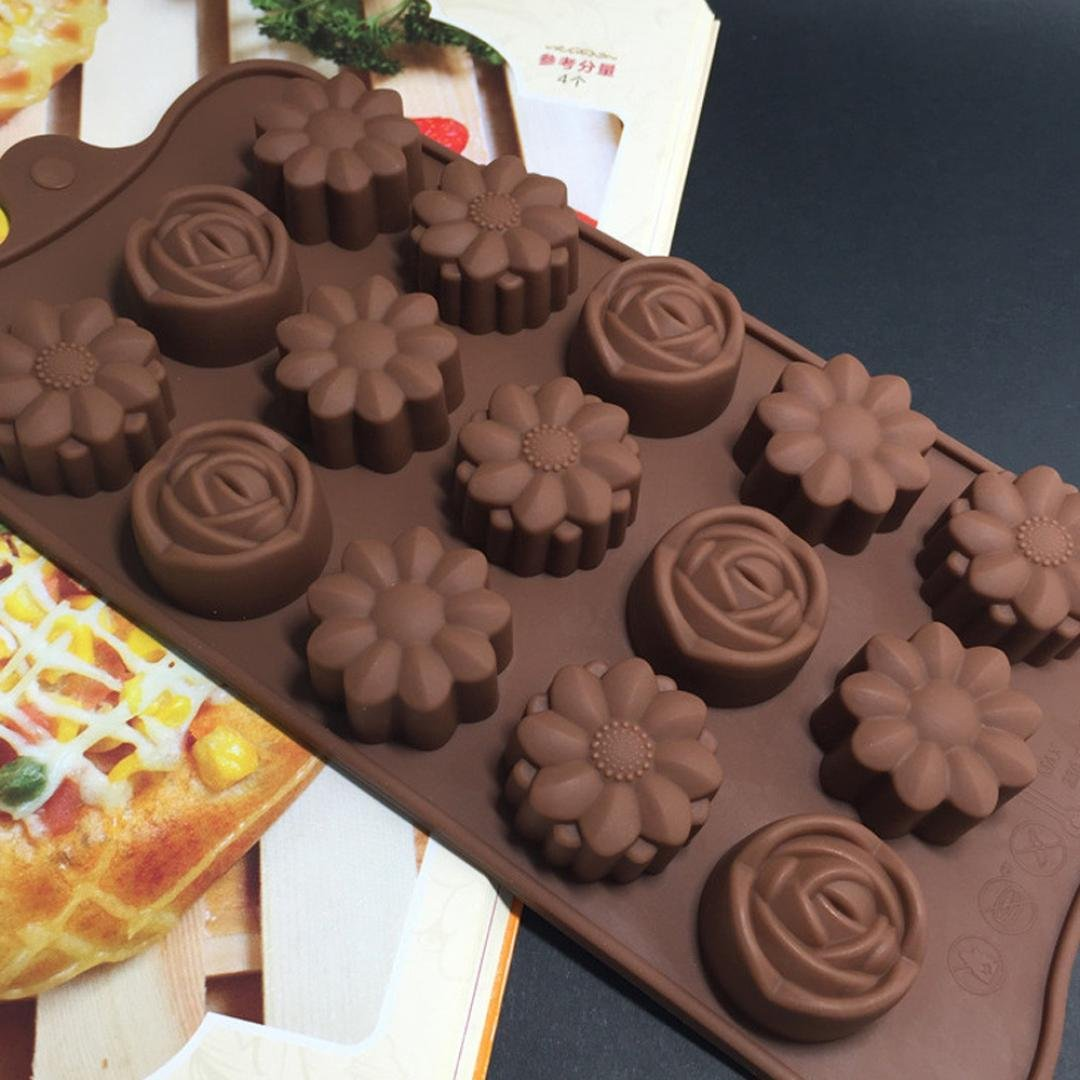 Chartsea 15 Cavity Silicone Flower Rose Chocolate Cake Soap Mold Baking Ice Tray Mould (A) charts_DRESS