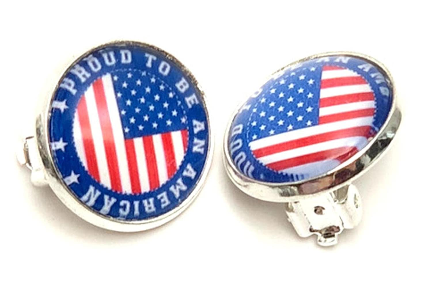 Fashion Patriotic Independence American Flag Clip-On Earrings For Women//AZAEPT104