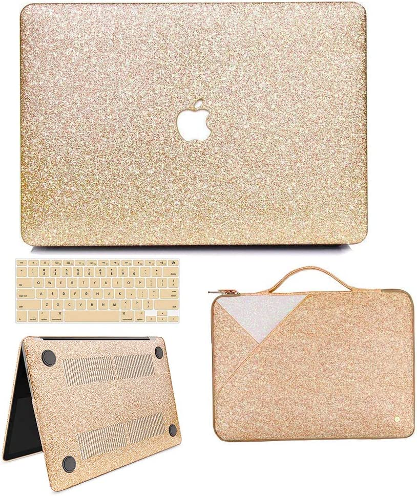 "MacBook Air 13 inch Case, Anban Glitter Bling Smooth Protective Case & Glitter Laptop Sleeve & Keyboard Cover Compatible for MacBook Air 13"" (A1369 & A1466) (Gold Cover Set)"